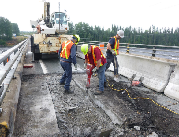 bridge work - hydraulic hammer